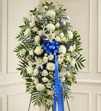 1-800-Flowers - Deepest Sympathies Blue & White Standing Spray - Large