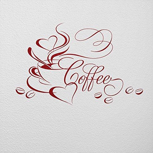 WANDfee - Adesivo da parete con motivo tazza di caffè con cuore e chicchi di caffè, 08_dunkelrot, 77 x 50 cm