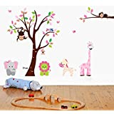 UberLyfe Nursery Wall Decal Tree And Wild Animals Nursery Wall Sticker (Wall Covering Area: 140cm X 220cm) - WS...