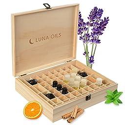 Luna Oils Essential Oil Wooden Storage Box Organizer, Carrying Case, Stores Up to 68 5-15 mL Bottles