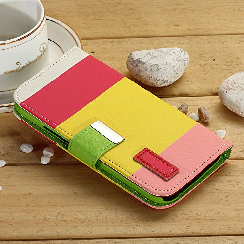 Mylife Pink Lemonade + Pikachu Yellow {Stripe Design} Faux Leather (Card, Cash And Id Holder + Magnetic Closing) Slim Wallet For The All-New Htc One M8 Android Smartphone - Aka, 2Nd Gen Htc One (External Textured Synthetic Leather With Magnetic Clip + Int front-350462