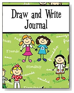 Draw and Write Journal For Girls - Scattered across a green background is the word Friendship written in several languages. Cartoon girls are also featured on the cover of this draw and write journal for younger kids.