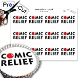 12 x PRE-CUT Comic Relief Logo - Edible Cake Toppers / Decorations