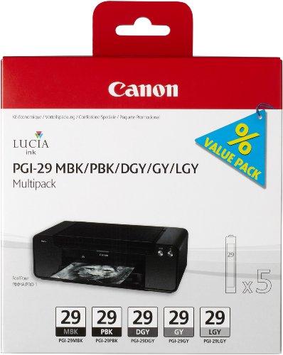 Canon PGI29 Ink Cartridge Multi Pack - Matte Black/ Photo Black/ Dark Grey/ Grey/ Light Grey Black Friday & Cyber Monday 2014
