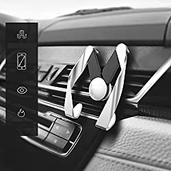 Ariic New Universal 360 Degree Rotating Car Stand,Multifuctional Car Fan Outlet Navigation Stand Mount Holder for iphone android Phone Sumsung Galaxy,Color White