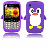 Penguin Silicone Case Cover Shell And Screen Protector For Blackberry Curve 8520 3G 9300 / Purple