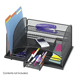 Safco Home Office Onyx Steel Mesh Storage Organizer With 3 Drawers, Black-BL
