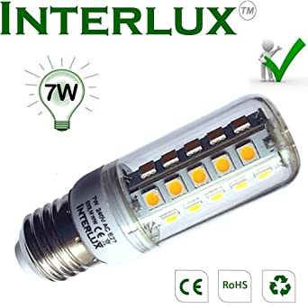 7W LED Corn bulb, E27 Warm white, Ideal for Ceiling Lights