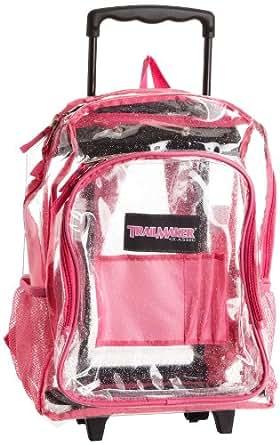 Trailmaker Big Girls'  Rolling Glitter Backpack, Clear, One Size