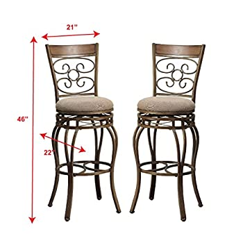 "Poundex Y1437 Bobkona Prisca 29"" Seat Height Swivel Bar Stool (Set of 2), Tan"