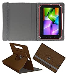Acm Designer Rotating Case For Swipe 3d Life Plus Stand Cover Brown