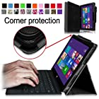 [Corner Protection] Fintie Folio Case for Microsoft Surface Pro / Surface Pro 2 Windows 8 Tablet 10.6 Inch Premium Leather Cover with Stylus Holder (Does not Fit Windows RT Version) - Black
