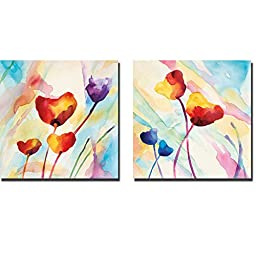 Tilt Tulips I & II by Deborah LaMotte 2-pc Premium Gallery-Wrapped Canvas Giclee Art Set (Ready to Hang)