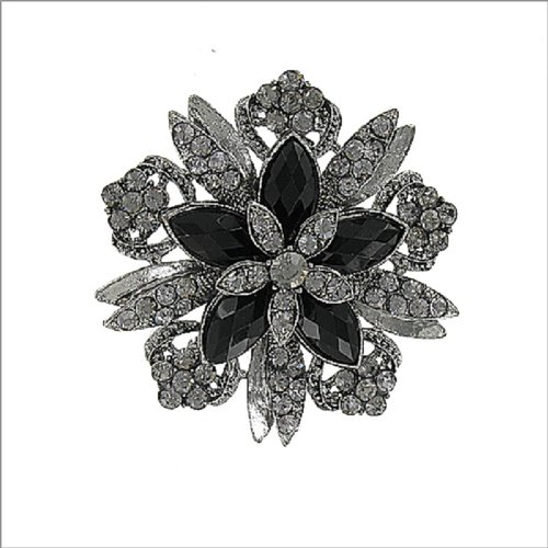 Crystal Stone Flower Design Pin #041388