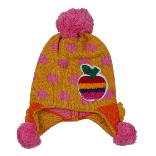 (ポラリス) Polaris 1-5歳赤ちゃんベビーウールカシミヤ耳あて ニット帽子ハット可愛いドット柄アッブルデザイン冬保温防寒能力一流キッズ(5色選べます) (3黄色)