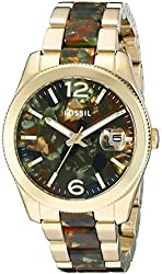 Fossil Women's ES3831 Perfect Boyfriend Three-Hand Date Stainless Steel and Acetate Watch - Camo
