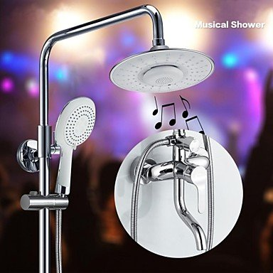Factory Outlets Contemporary Tub Shower Faucet With 8 Inch Bluetooth Musical Round Shower Head With Hand Shower