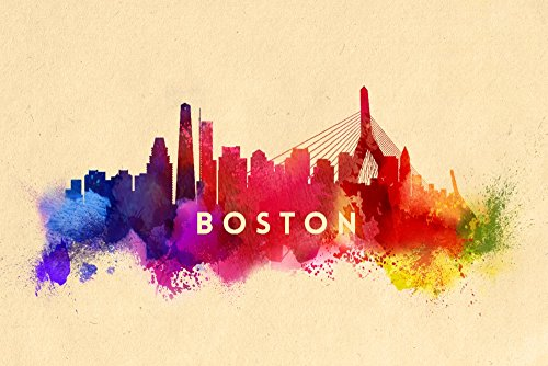 Boston, Massachusetts - Skyline Abstract (12x18 Collectible Art Print, Wall Decor Travel Poster) (Boston Skyline Painting compare prices)