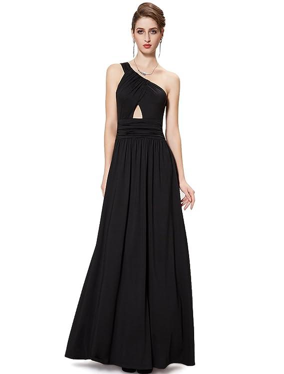 Ever Pretty One Shoulder Cutout Long Black Formal Evening Dress 08284