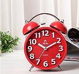 VIVISKY Candy Color Nightlight Silent Quartz Analog Twin Bell Alarm Clock Large Hourly Number Reto Non Ticking Alarm Clock (red)