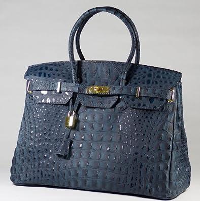 Sac à Main - CUIR Veritable - Fabriqué en Italie - genuine leather bag - Sacs OUTLET (BLEU / effet Croco)