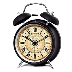 iCasso 4 Vintage Roman Numeral Quiet Non-ticking Silent Quartz Analog Metal Twin Double Bell Alarm Clock With Loud Alarm and Nightlight with 4pcs iCasso Cable Ties (Black)