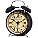 """iCasso 4"""" Vintage Roman Numeral Quiet Non-ticking Silent Quartz Analog Metal Twin Double Bell Alarm Clock With Loud Alarm and Nightlight with 4pcs iCasso Cable Ties (Black)"""