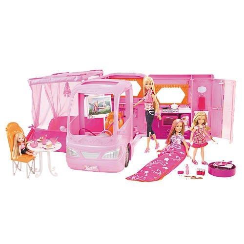 Barbie Glamour Camper - Exclusive Set with 4 Dolls (Barbie Doll Camper Van compare prices)