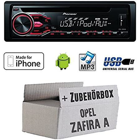 Opel Zafira A - Pioneer DEH-2800UI - CD/MP3/USB Radio inkl. Apple/Android Steuerung - Einbauset