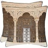 Safavieh Pillows Collection Novara Decorative Pillow, 20-Inch, Brown, Set of 2