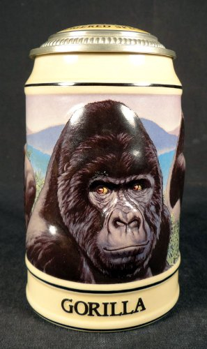 BUDWEISER ENDANGERED SPECIES SERIES LIDDED BEER STEIN, GORILLA