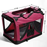 ✿ ATC Wine Red—The Ideal Pet Soft Crate / Carrier for Travel, Indoor and Outdoor – Extra Large— Folding Soft Sided Carrier Crate for Pets up to 60 lbs. ✿