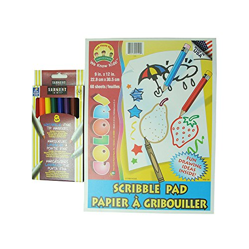 "Markers Drawing Set. 8 Colorful Markers plus 9"" x 12"" Scribble Pad with Fun Drawing Ideas! - 1"