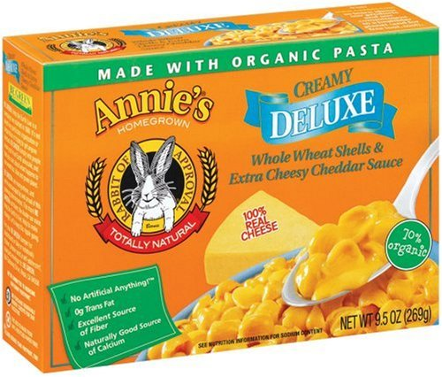 Annie's Homegrown Deluxe Whole Wheat Shells & Extra Cheesy Cheddar, 9.5-Ounce Boxes (Pack of 12)