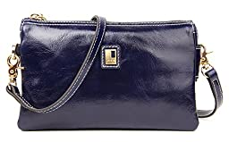 SUIMIUS Fashion Genuine Leather Purse Shoulder Handbag Clutch Bags with Golden Chain Cross Body Dark Blue