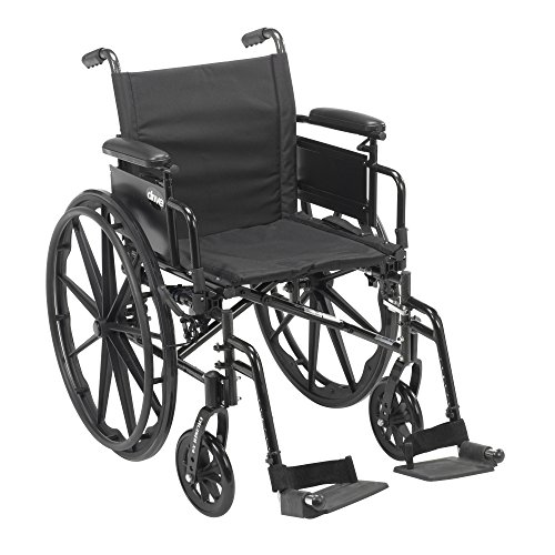 Drive Medical Cruiser X4 Lightweight Dual Axle Wheelchair with Adjustable Desk Arms Seat with Swing Away Footrests, Silver Vein, 20 Inch (Carbon Wheelchair compare prices)