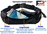 Pifito (TM) Running Belt - Premium Quality Stylish Waist Pack for iPhone & Galaxy - Cozy Ample Space Fanny Pack Pouch Bag for Sports, Exercise, Walking, Jogging and Travel (Black)