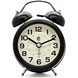 """JCC 3"""" Retro Twin Bell Silent Non Ticking Sweep Second Hand Bedside Desk Analog Quartz Alarm Clock With Nightlight And Loud Alarm, Battery Operated (Black)"""