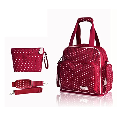 Damai Large Dots Backpack Diaper Bag 3 Carrying Options (Red) front-466969
