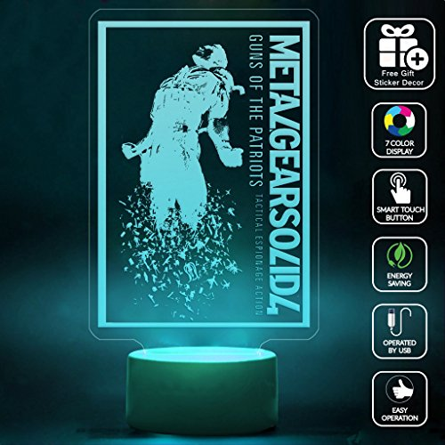 CMLART Metal Gear Solid Guns Of the Patriots 3d Lamp Night 7 Color Change Best Gift Night Light LED Furnish Desk Table Lighting Home Decoration Toys (Gun Ps2 compare prices)