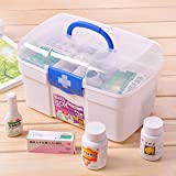 Shopo's Clear White Plastic Double Layers Health Care First Aid Medicine Storage Box Case Holder