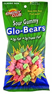 Energy Club Gummy Bears, Sour, 7.25-Ounce Bags (Pack of 6)