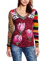 Desigual Camiseta Manga Larga Roses Rep (Fresa)
