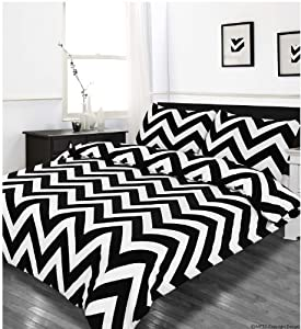 King Size Duvet Quilt Cover Bedding Set Zig Zag Black