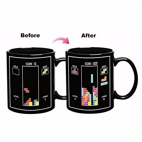 YEDAYS Black Tetris Heat Temperature Sensitive Color Change Mug Glass Cup Magic Color Changing Cup Creative Coffee Cup