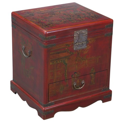 Cheap EXP Handmade Oriental Furniture – 23″ Antique Style Red Leather Heirloom End Table / Storage Chest (B001KWGKGK)