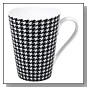 Konitz 13-Ounce Escapada Hounds Tooth Mugs, Black/White, Set of 4