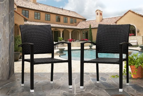 Outdoor Patio Wicker Stackable Dining Chair Espresso - All Weather & Free Shipping!