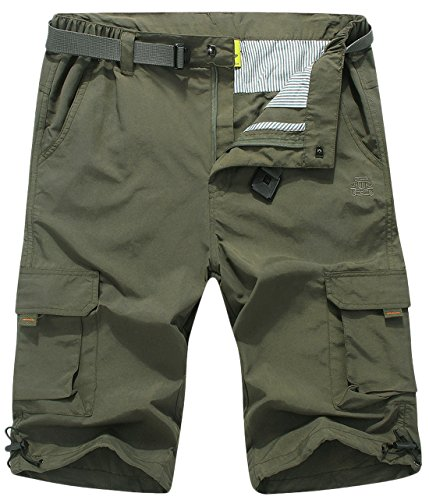 Chouyatou Men's Multi-Pocket Waterproof Belted Cargo Shorts Side Elastic (Medium, Army Green)