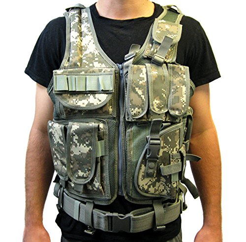 Tactical Vest Acu Camo Camouflage For Army, Hunting, Police, Swat With Pistol / Gun Holster / Pouches (Vest-V01A By Vivo)
